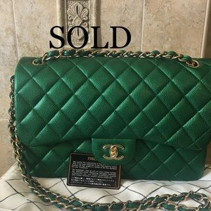 Sold out Jumbo Emerald  Green Caviar Shiny GHW